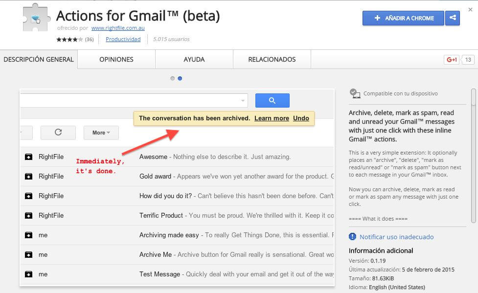 correo de gmail action for gmail