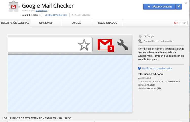 extensiones de chrome mail checker